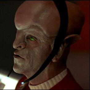 An Arkenite Starfleet officer from 2286