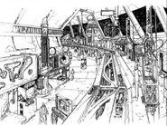 Promenade Concept Art showing Monorail