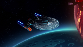 The USS Vancouver in orbit of Mixtus III