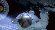 NASA astronaut holding onto ISS in ENT opening titles
