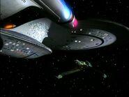 Enterprise-D facing a Bird of Prey, remastered