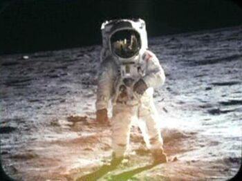 Aldrin photographed on the moon's surface