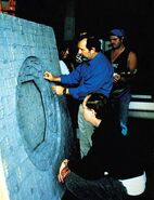 David Stipes and Dan Curry inspecting the Dyson Sphere maquette