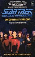 Encounter at Farpoint novelization cover, Titan Books 1990 edition