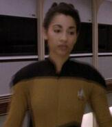 Female operations officer in corridor, 2369