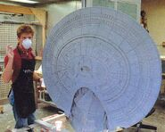 Galaxy class USS Enterprise-D studio model build complete assembled cast primary hull given primary coat of paint by Bill George