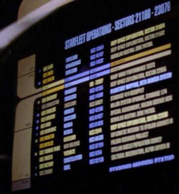 USS Trieste listed on a Starfleet operations chart