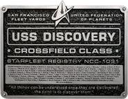 Eaglemoss USS Discovery Dedication Plaque