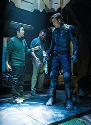 Justin Lin with Kirk in transporter.jpg
