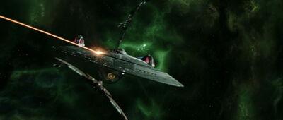 Enterprise-E greift mit Romulanern die Scimitar an.jpg