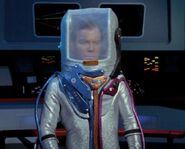 Kirk in spacesuit on Defiant bridge