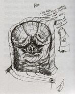 Alien with no neck and heavy folds over eyes, concept art