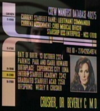 Beverly Crusher's personnel file