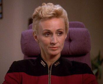 Nechayev aboard the Enterprise-D (2369)
