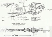 Rick Sternbach sketches of Borg drone arms