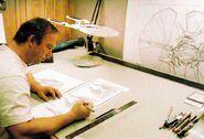 John Eaves working on the design of Ru'afo's flagship