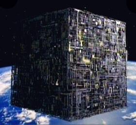 Borg cube orbits Earth.jpg