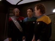 Worf, Bashir, and O'Brien, division uniforms