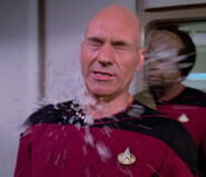 Picard hit by a snowball
