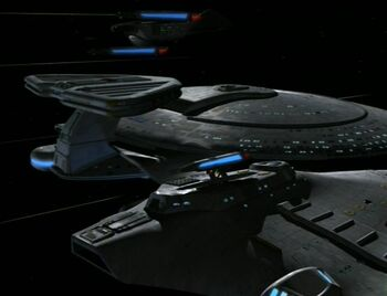 The USS Bonchune surrounded by the USS Prometheus