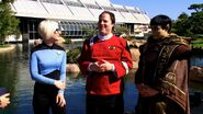 Gabriel Koerner flanked by two fellow ''Trekkies'' on the Tillman Water Reclamation Plant grounds