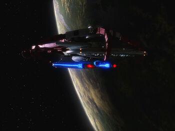 USS Sutherland in drydock at Starbase 234 in 2367