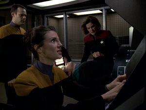 Harren, Celes, Telfer, and Janeway aboard Delta Flyer.jpg