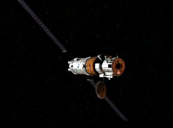 The Ares IV command module in orbit over Mars