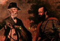 Le Géneral Robert E. Lee (gauche) et Stonewall Jackson (droite)