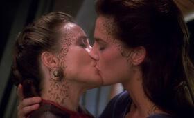 Lenara Kahn and Jadzia Dax kiss.jpg