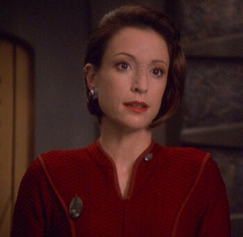 """Colonel Kira Nerys in <a href=""""/wiki/2375"""" title=""""2375"""">2375</a>"""