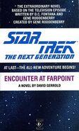 Encounter at Farpoint novelization cover, Titan Books 1988 edition
