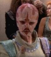 Hairless pink bar alien