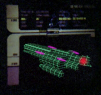 A graphic of the Erstwhile showing the location of its bridge (red) and laser array (pink)
