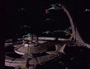 Klingon warships at DS9, late 2375