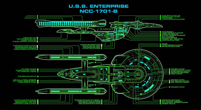 Master systems display of the Excelsior-class USS Enterprise-B