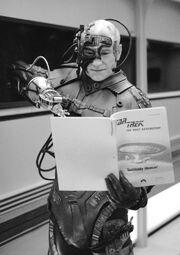 Stewart reviews SH script in Locutus costume.jpg