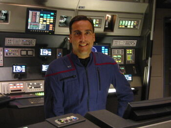 ...Moorhouse on the set of Enterprise