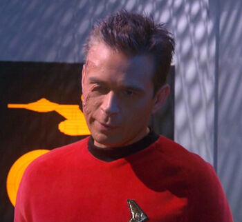 Charles Tucker III wearing a Starfleet uniform from the future