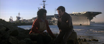 Uhura and Chekov planning to infiltrate the <i>Enterprise</i>.