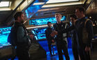 The crew of the USS Discovery encounter Harcourt Fenton Mudd on the bridge