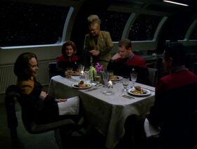 Tom and BElanna have dinner w Captain.jpg