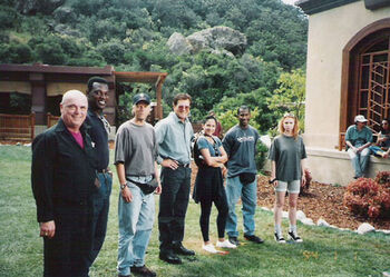 James Minor (second from left) on the set of <i>Insurrection</i>