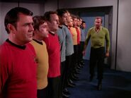 Kirk questions Scott, Chekov, O'Brien, and Bashir