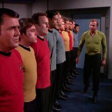 Kirk questions Scott, Chekov, O'Brien, and Bashir.jpg