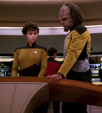 Ensign Bailey and Lt. Worf (2367)