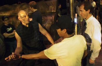 "Torres with <!--LINK'"" 0:0--> and <!--LINK'"" 0:1--> on the <i>Narada</i> set in <i>Star Trek</i>"