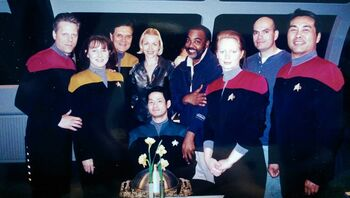 Wong (right) and the main stand-ins during the fifth season of Voyager