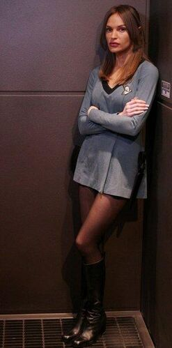 "T'Pol wearing a <a href=""/wiki/Sciences_division"" title=""Sciences division"">sciences division</a> <a href=""/wiki/Starfleet_uniform_(mid_2260s-early_2270s)"" class=""mw-redirect"" title=""Starfleet uniform (mid 2260s-early 2270s)"">uniform</a> that was found aboard the <i><a href=""/wiki/USS_Defiant_(NCC-1764)"" title=""USS Defiant (NCC-1764)"">Defiant</a></i>"