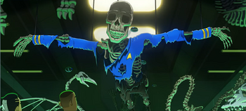 The skeletal remains of Spock Two